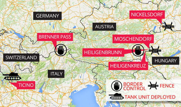 A map showing how Austria and Switzerland are shutting off their borders