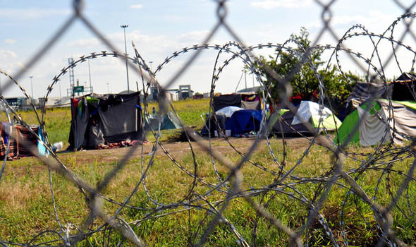 Border fence at hungarian migrant camp