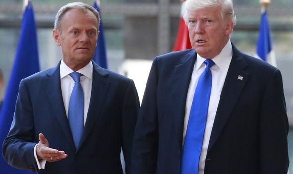 President Trump looked tense as he met Donald Tusk