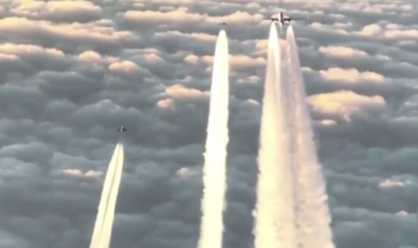 The planes flying above Cologne