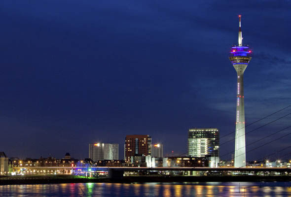 Dusseldorf skyline at night