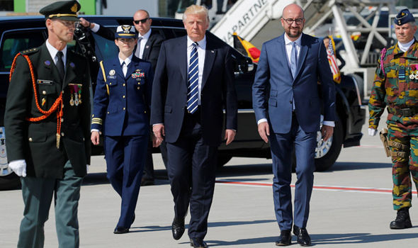 Donald Trump arrives in Brussels for Nato meeting