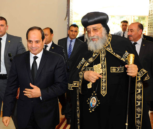 President Sisi arrives to meet with Pope Tawadros II of the Coptic Orthodox Church after the attacks