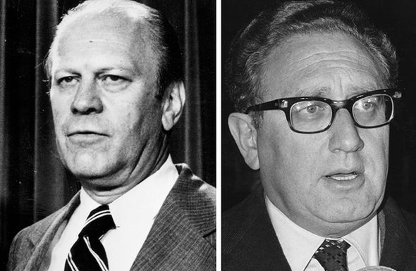 Former President Ford, left, and former Secretary of State Henry Kissinger, right
