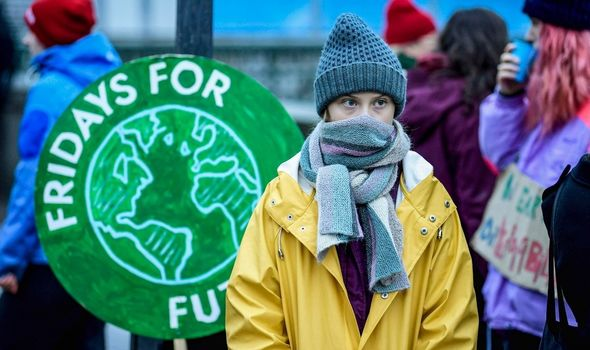 Greta Thunberg attends a climate change rally in 2019
