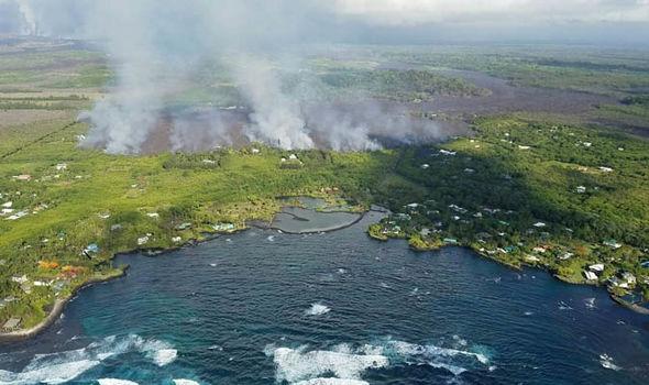 Kapoho bay as lava approaches