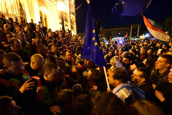 Protestors mass outside Hungary's parliament earlier this week
