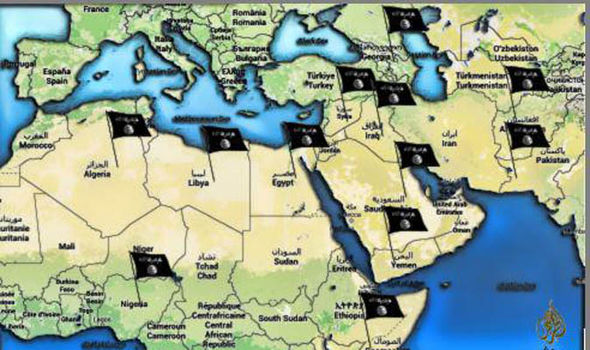 A map showing ISIS target territories