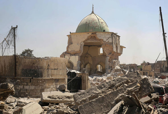 Iraqi forces have recaptured the destroyed Al-Nuri Mosque in the Old City of Mosul