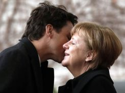 Image result for pictures of justin trudeau and merkel