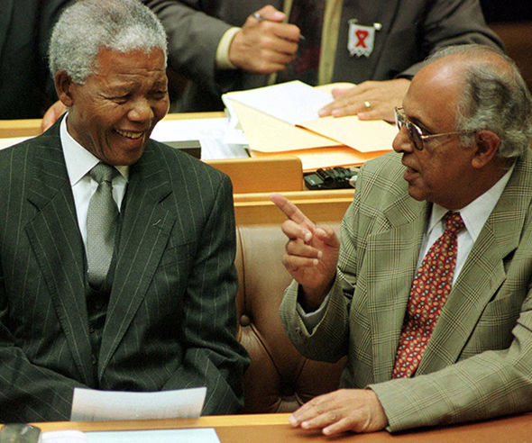 Kathrada and Mandela in South African parliament