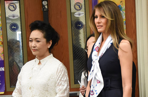 Melania Trump bonding with Jinping's wife Peng Liyuan
