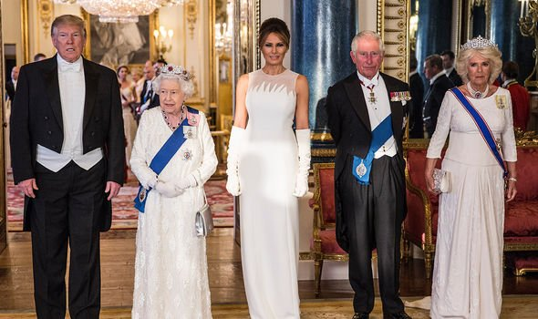 Melania and Donald Trump with the Queen, Prince Charles and Camilla
