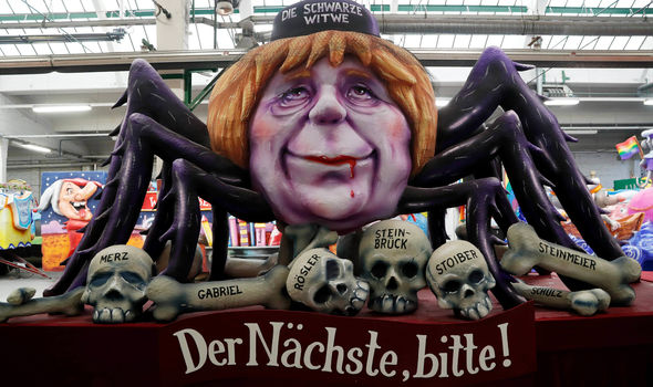 Merkel was depicted as a monstrous spider