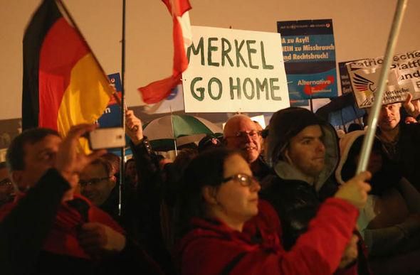 Protest in Germany against Angela Merkel