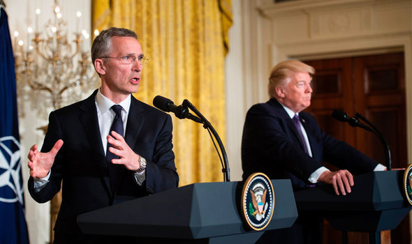 NATO Secretary General Jens Stoltenberg alongside President Trump earlier on Wednesday