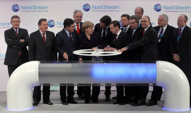 Germany's Angela Merkel at launch of Nord Steam 1
