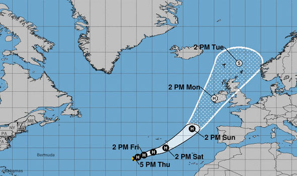 Ophelia officially gained hurricane status on Wednesday evening
