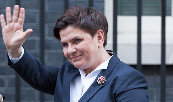 Polish PM Beata Szydlo, pictured outside Downing Street after a meeting with Theresa May in November