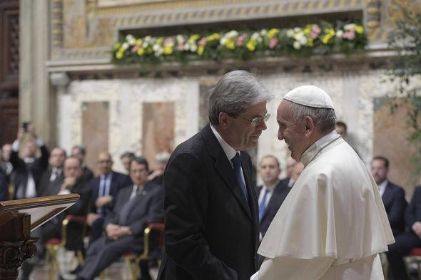 The Pope greets Italian PM Paolo Gentiloni