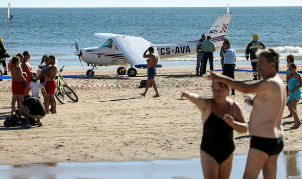 Portugal plane crash on beach