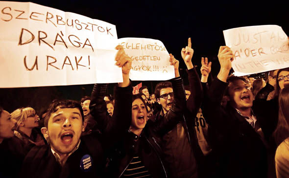 A demonstration over the new Hungarian education law