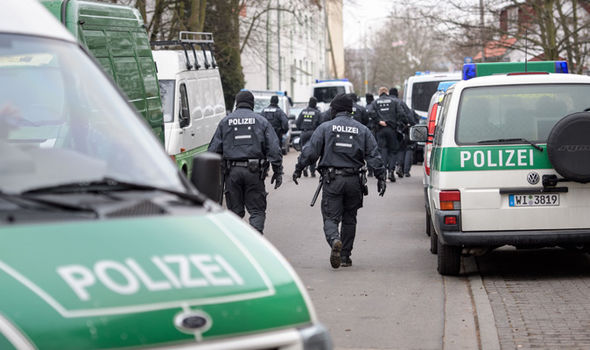 Police line the streets in Hesse, Germany