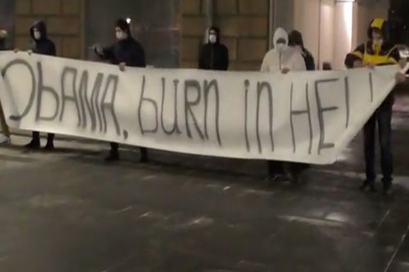 Obama burn in hell banner
