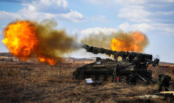 Massive tanks firing into the sky