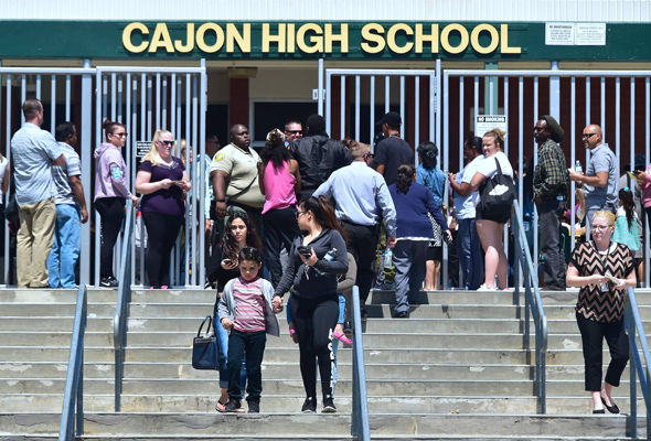 Worried parents collect their children from Cajon High School