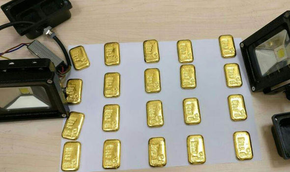 Some of the gold seized at Hyderabad airport