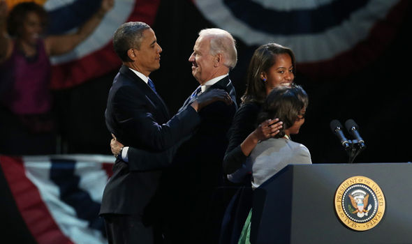 The pair celebrated after Obama won his second term in 2012