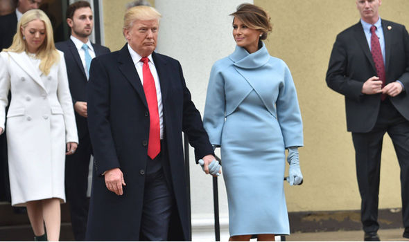 Melania and Trump leave church