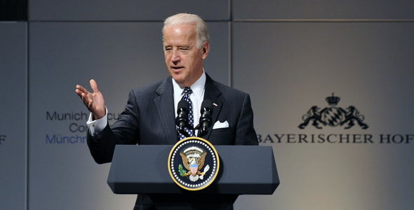 US politics: Biden pictured at the 2009 conference as Vice-President to Barack Obama