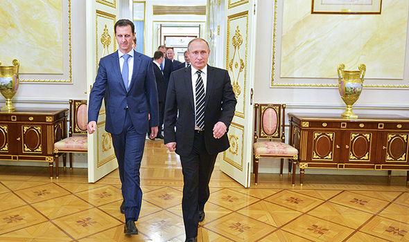 Vladimir Putin and Bashar al-Assad in Moscow