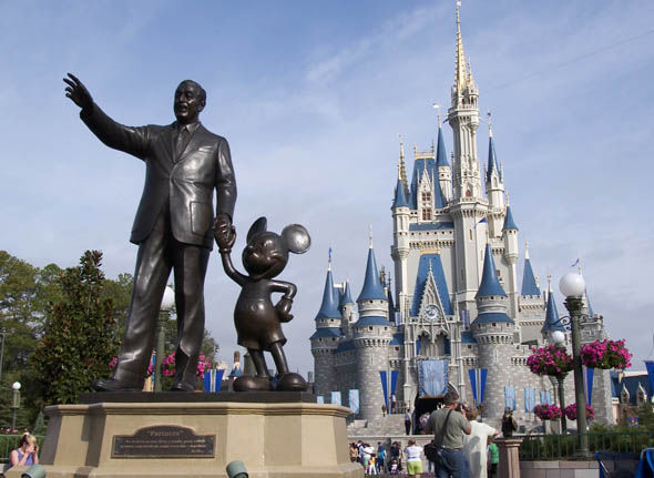 Disney World Florida's statue of Walt Disney and Mickey Mouse