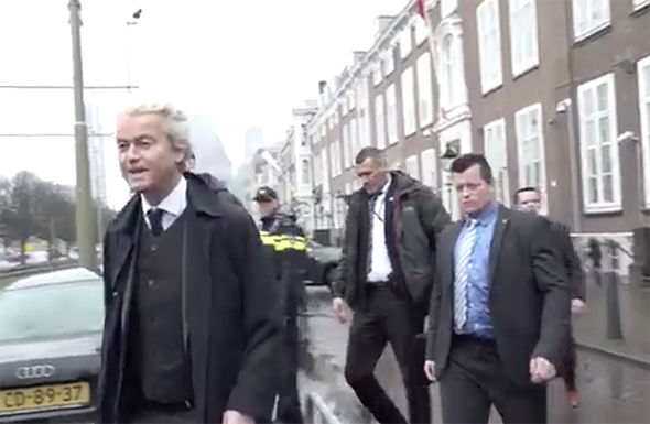 Wilders arriving at the protest