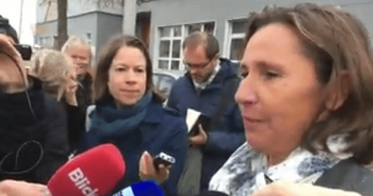 Corinne Bouvard of the Canton of Zurich prosecutor's office outside the mosque