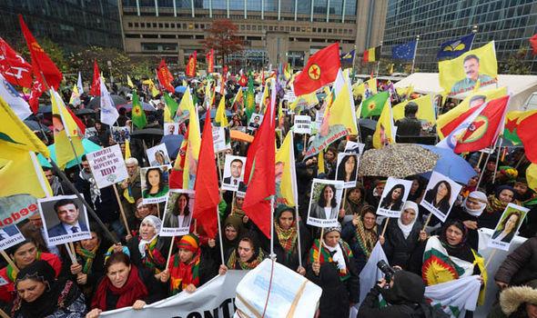 Protesters against Recep Erdogan in Brussels