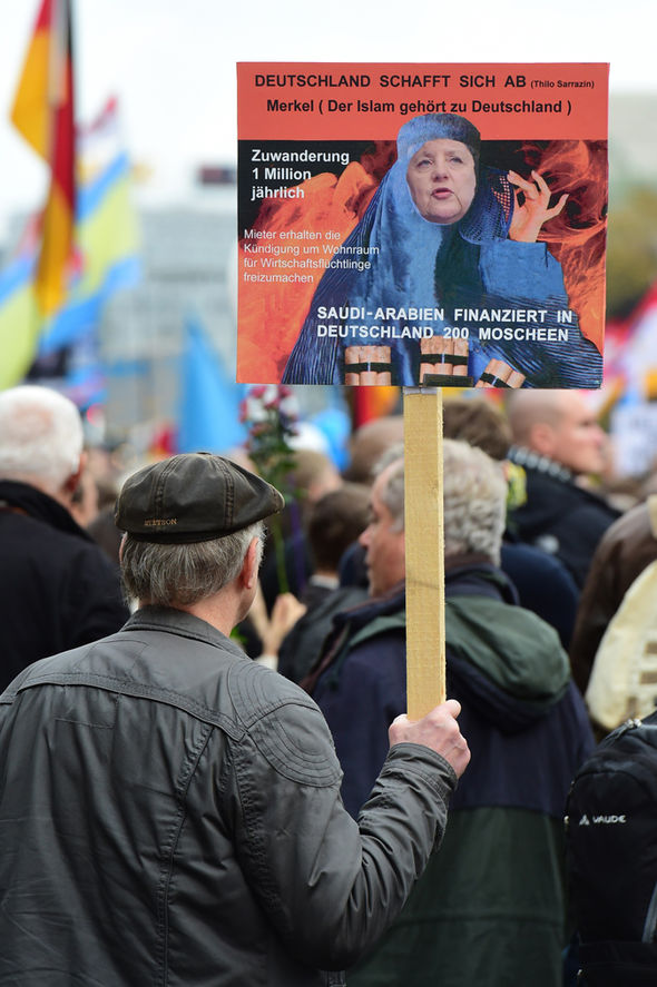 A campaigner protests against the burka in Germany