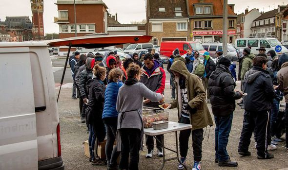 A food distribution point in Calais