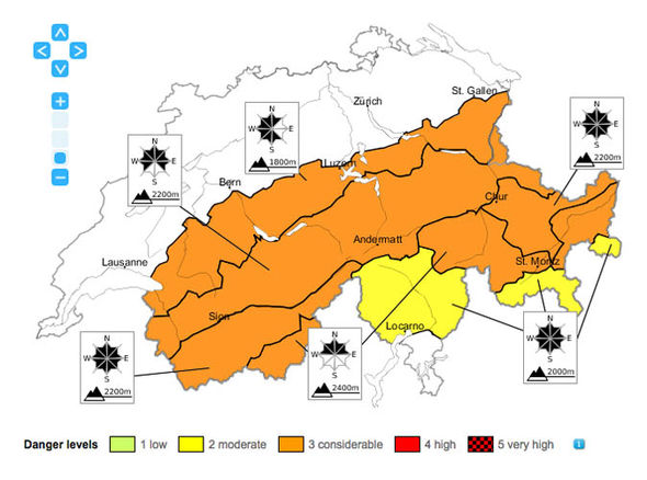 Map of avalanche risks in Switzerland