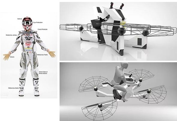 Designs for the flying craft and the protective suit that goes with it
