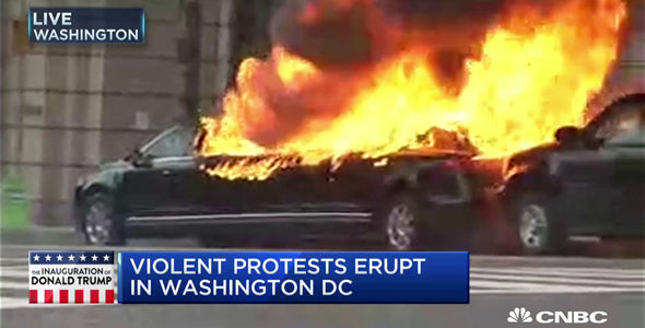 A limo goes up in flames in Washington DC blocks away from the inaugural parade