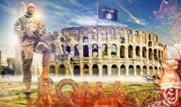 Una captura de pantalla del video muestra a un soldado ISIS y el Coliseo
