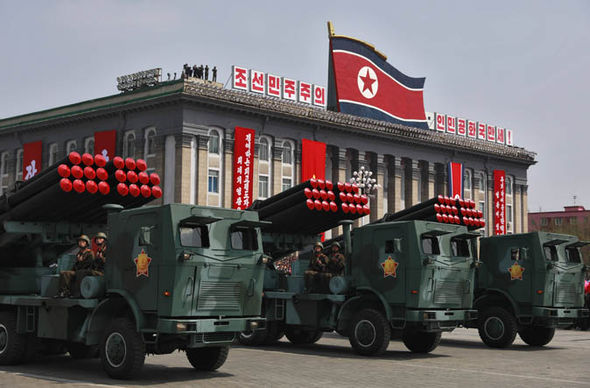 North Korean military vehicles on parade