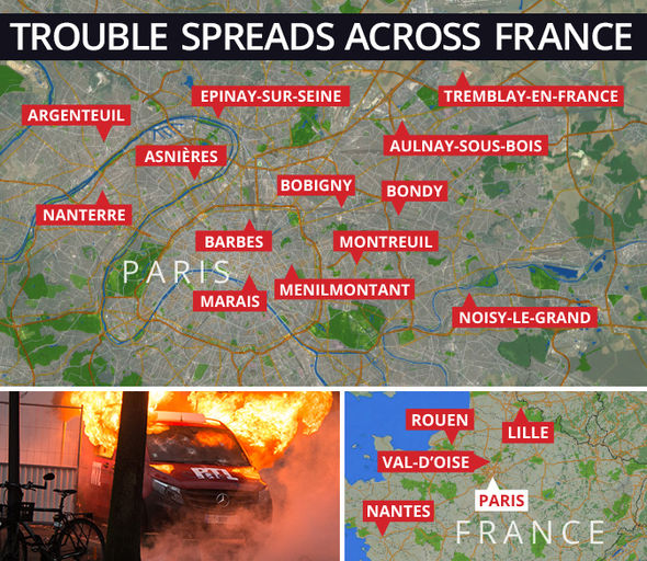 A map showing locations of Paris riots