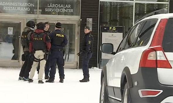 Police outside the university