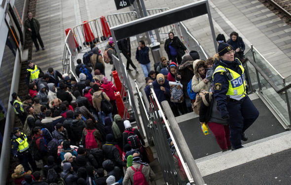 Migrants arriving in Sweden