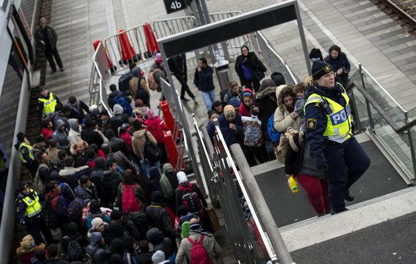 Migrants arriving in Sweden